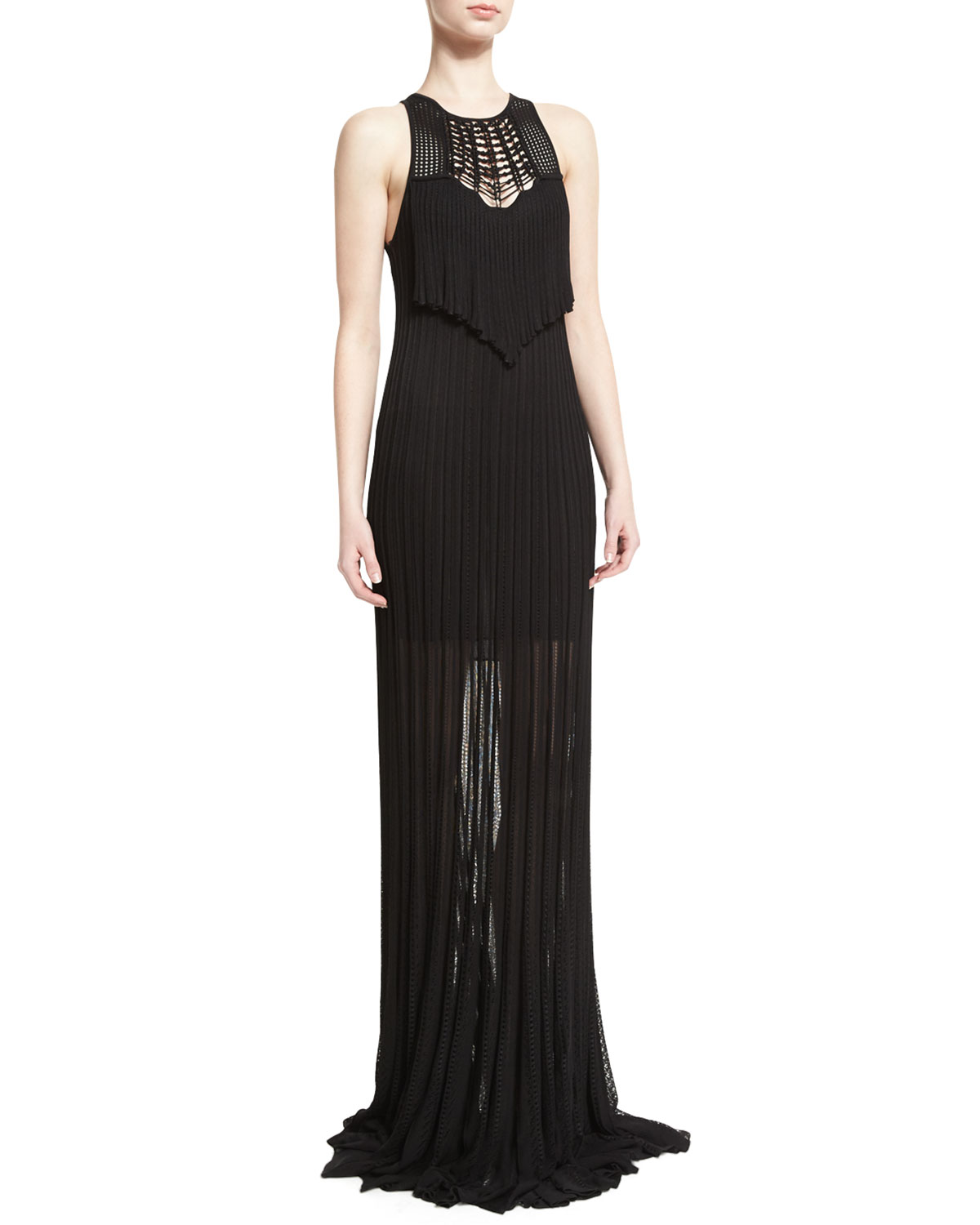 Sleeveless Macrame Knit Gown, Black