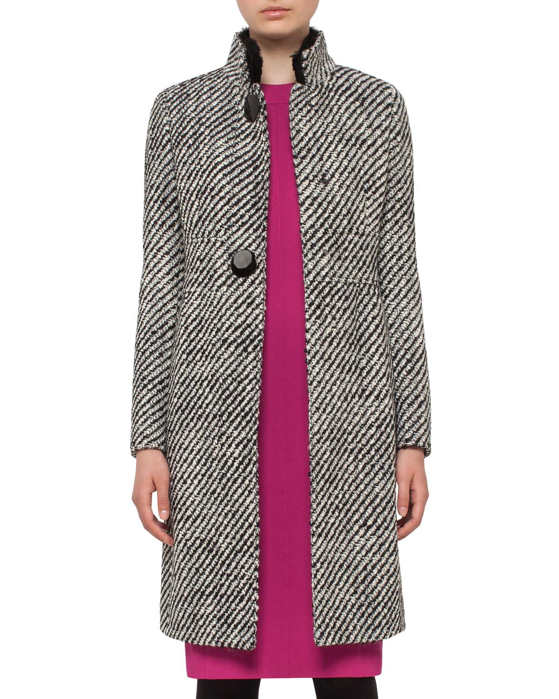 Diagonal-Stripe Boucle Coat, Black/Cream