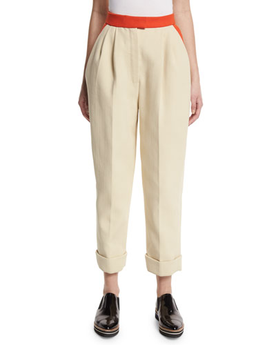 Colorblock Cuffed Straight-Leg Pants, Natural White