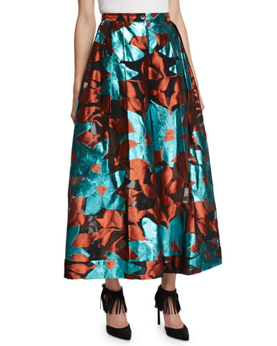 Metallic Floral Burnout Midi Skirt, Blue