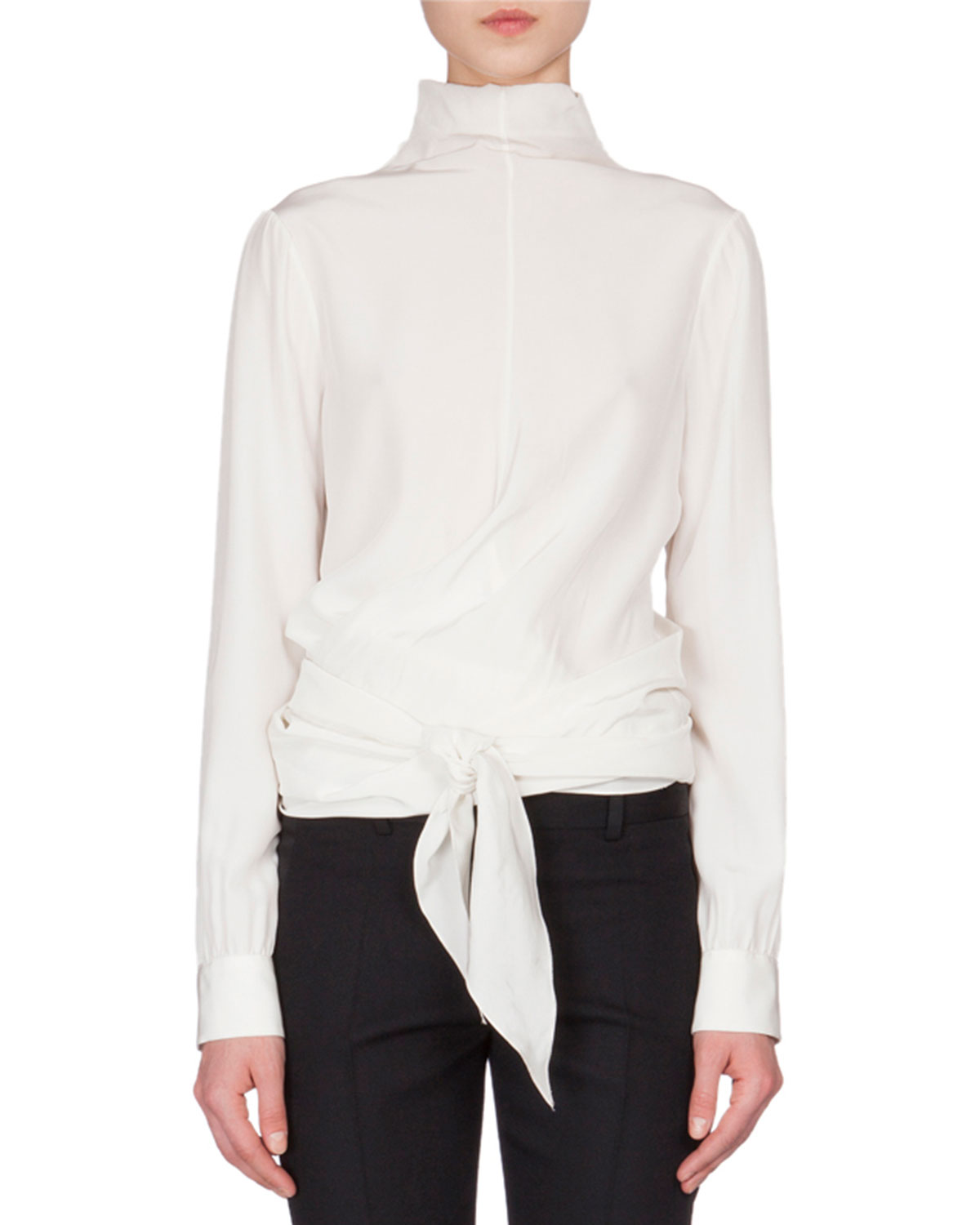Mock-Neck Wrap-Front Blouse, Ivory