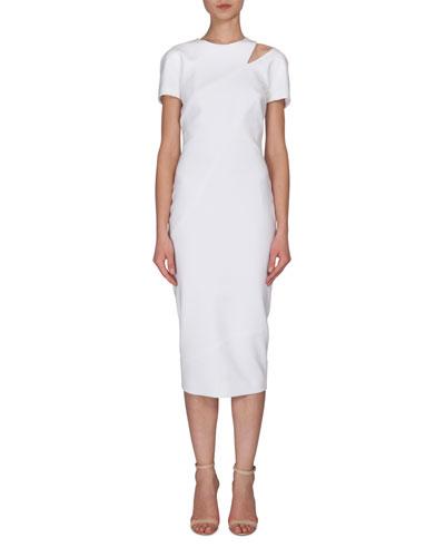Slit-Shoulder Short-Sleeve Sheath Dress, White