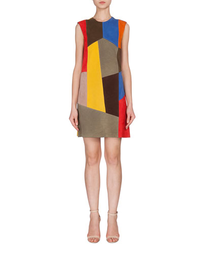Sleeveless Patchwork Suede Dress, Multi