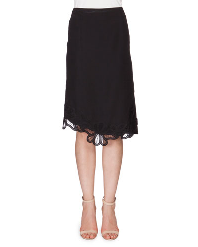 Crepe Skirt w/Lace Applique, Black