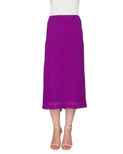 Textured Seersucker Pencil Skirt, Plum