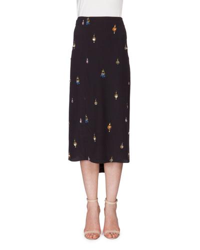 Earring-Print Skirt w/Swarovski® Crystals, Black