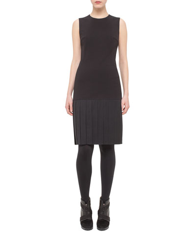 Sleeveless Stretch-Jersey Dress w/Pleated Hem, Black