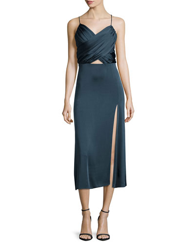 Satin Wrap-Front Midi Dress, Lake