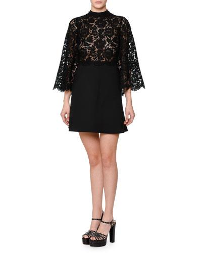 Bell-Sleeve Mock-Neck Lace & Crepe Dress, Black