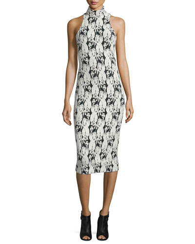 Embroidery-Print Mock-Neck Halter Dress, Black/White