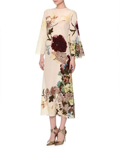 Floral-Print Bell-Sleeve Silk Capelet Dress, Milk