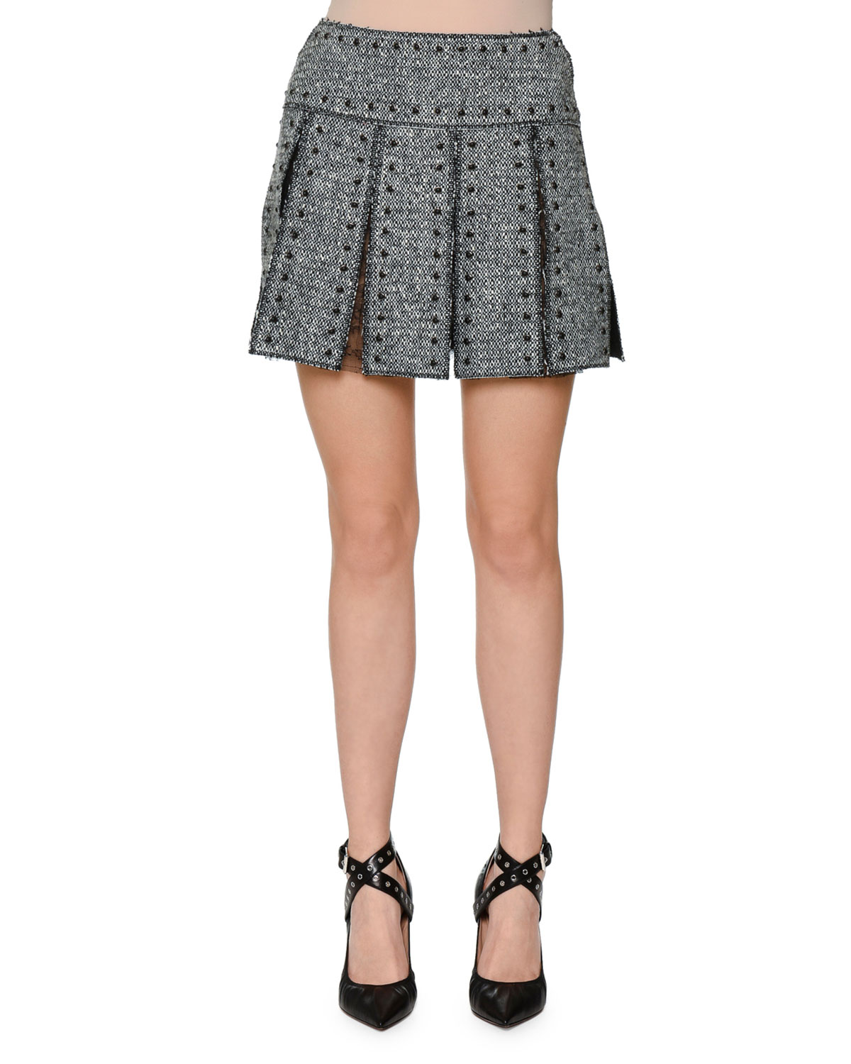 Studded Box-Pleat Tweed Skirt, Black/Ivory