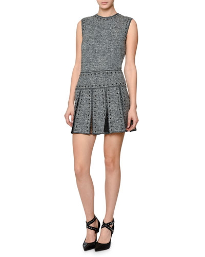 Sleeveless Studded Tweed Dress, Black/Ivory