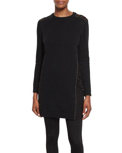 Studded Lace-Trim Tunic Sweater, Black