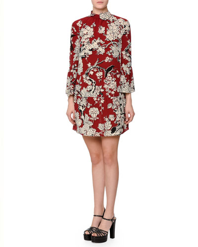 3/4-Sleeve Printed Trapeze Dress, Red