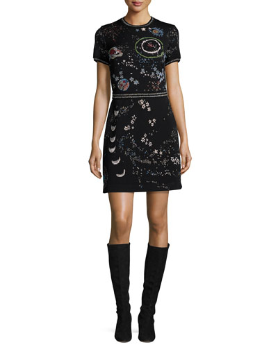 Cosmo Embroidered Short-Sleeve Dress, Black/Multi