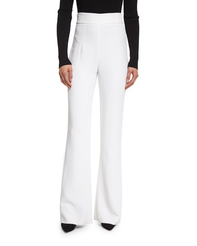 High-Waist Stretch-Cady Pants, Soft White