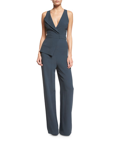 Sleeveless Suit-Inspired Cady Jumpsuit, Lake