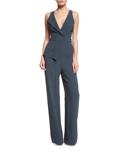 Sleeveless Suit-Inspired Cady Jumpsuit, Lake