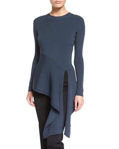 Long-Sleeve Ribbed Sweater w/Asymmetric Hem, Lake