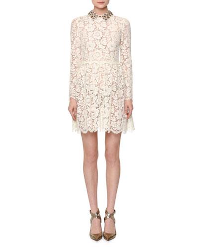 Long-Sleeve Heavy Lace Dress w/Collar, Ivory