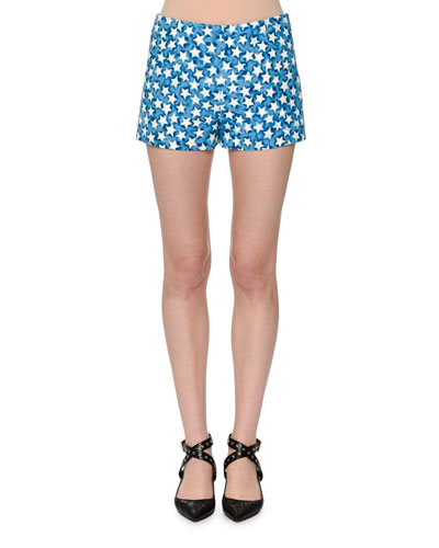 Star-Print Crepe Shorts, Blue Star