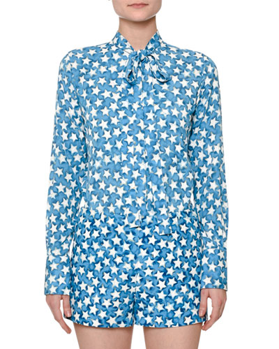 Star-Print Silk Georgette Blouse, Blue Star