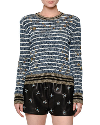 Striped Star-Embellished Sweater, Blue/White/Gold