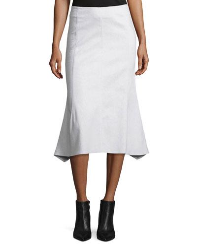 Flared Cotton-Blend Midi Skirt, White