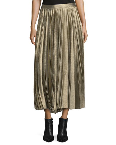 Metallic Accordion-Pleated Midi Skirt, Gold