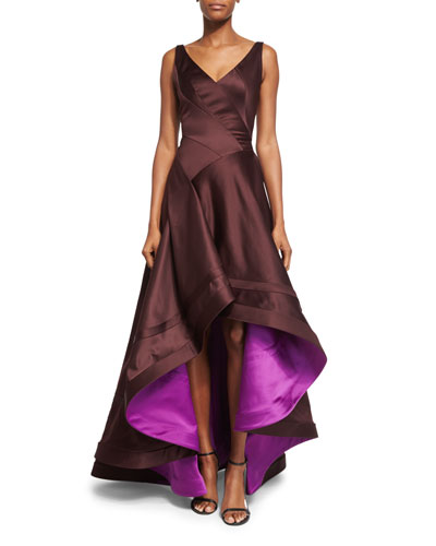 Satin High-Low Gown w/Contrast Lining, Wine