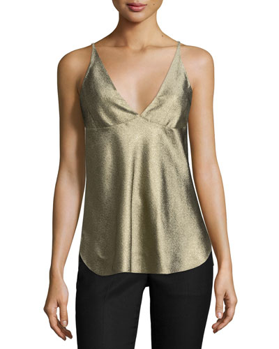 Sleeveless V-Neck Camisole, Gold