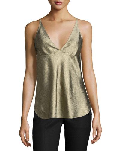 Sleeveless V-Neck Camisole, Gold
