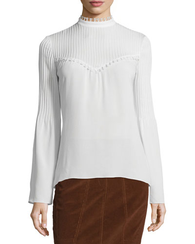 Long-Sleeve Silk Blouse w/Pintucked Yoke, White