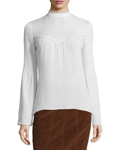 Long-Sleeve Silk Blouse w/Pintucked Yoke, White