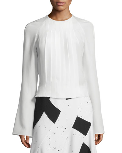 Long-Sleeve Pleated Silk Blouse, White