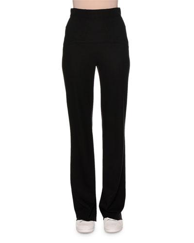 High-Waist Jersey Wool Pants