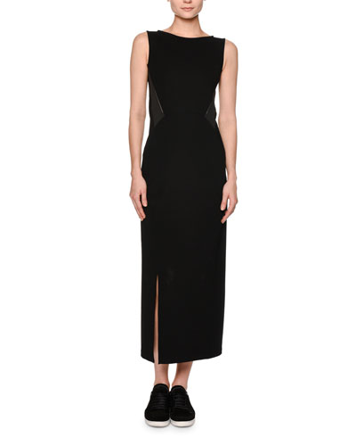 Sleeveless Jersey Maxi Dress, Black/Gray