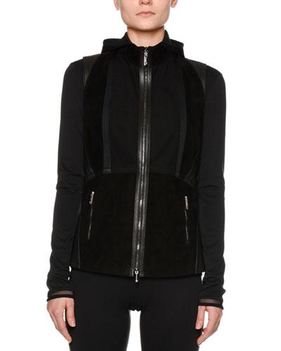 Corsetry Leather/Suede Biker Vest, Black