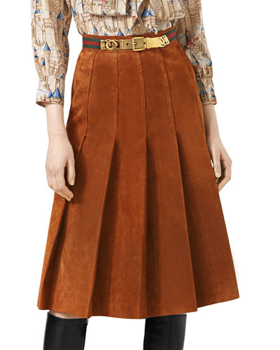 Pleated Suede Skirt with Web Detail