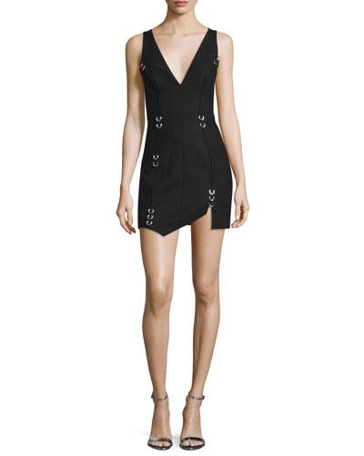 Pierced Sleeveless V-Neck Dress, Black