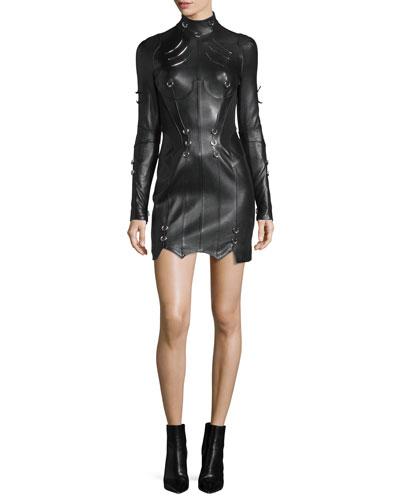 Original Grommet-Studded Leather Dress, Black
