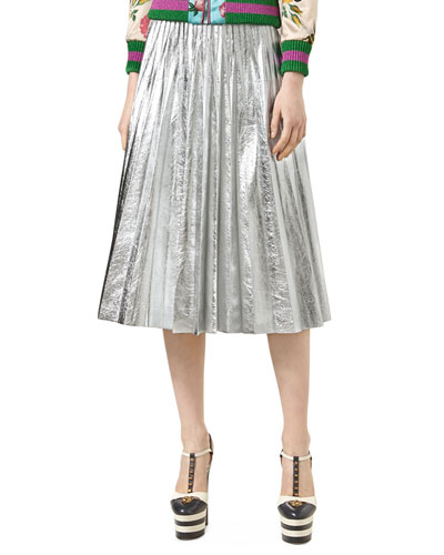 Metallic Leather Plissé Skirt, Silver