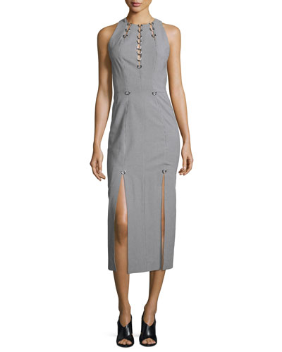 Sleeveless Pierced Houndstooth Midi Dress, Navy/Off White