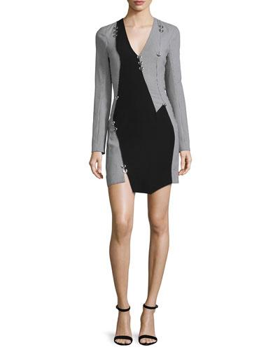 Pierced Long-Sleeve Houndstooth Mini Dress, Navy/Off White