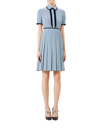 Short-Sleeve Silk Crepe Shirtdress, Dusty Blue/Black