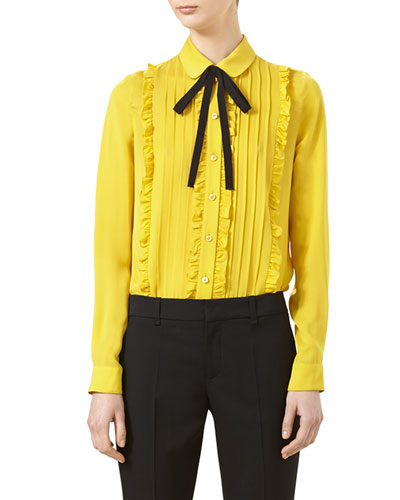 Pleated Silk Satin Shirt, Tulip Yellow
