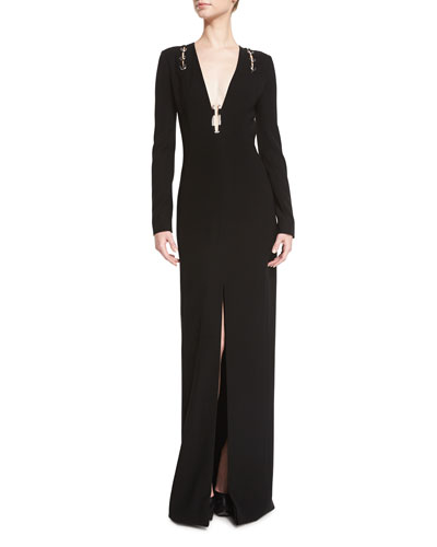 Long-Sleeve Open-Back Gown w/Metallic Hardware, Black