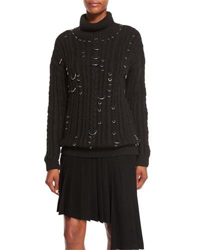 Pierced Chunky Turtleneck Sweater, Black