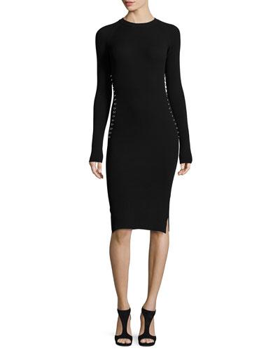 Long-Sleeve Knit Dress w/Grommet Hardware, Black